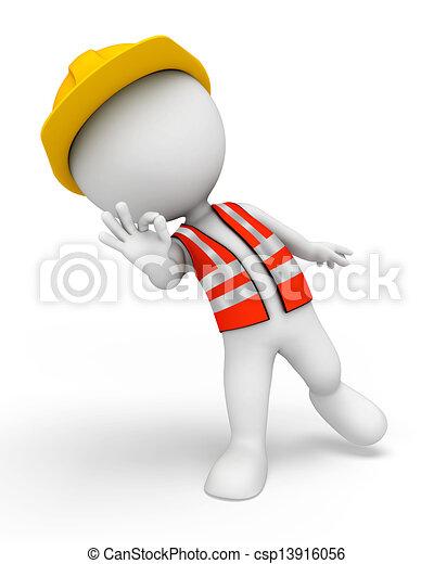 3D blancos como trabajadores de carretera - csp13916056
