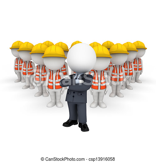 3D blancos como trabajadores de carretera - csp13916058