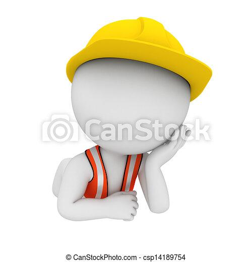 3D blancos como trabajadores de carretera - csp14189754