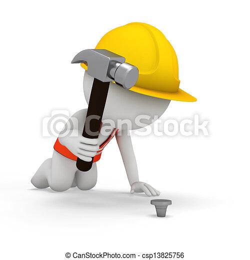 3D blancos como trabajadores - csp13825756