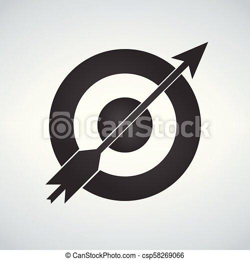 Objetivo y icono de flecha aislado en el fondo blanco. - csp58269066