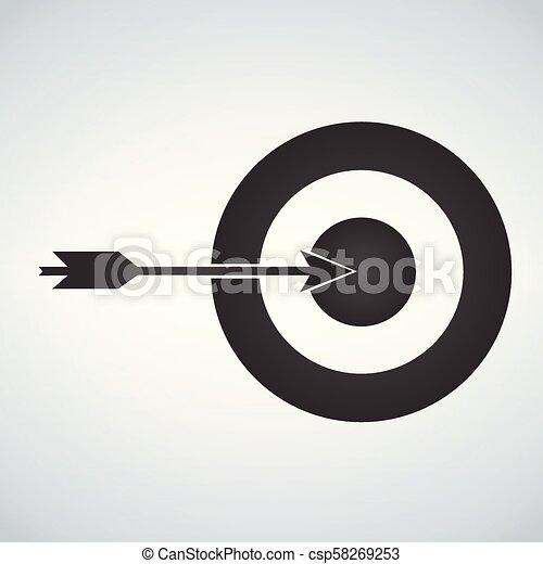Objetivo y icono de flecha aislado en el fondo blanco. - csp58269253