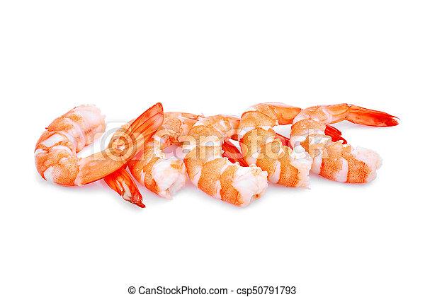 Camarones aislados en fondo blanco - csp50791793