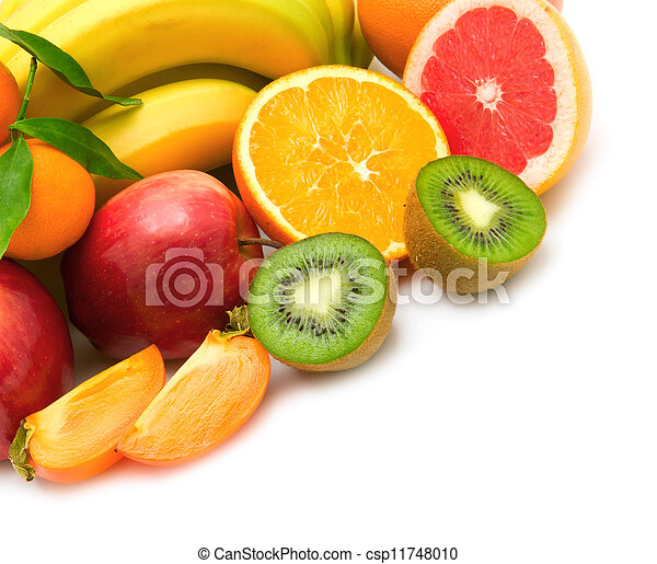 blanco, aislado, plano de fondo, fruits - csp11748010
