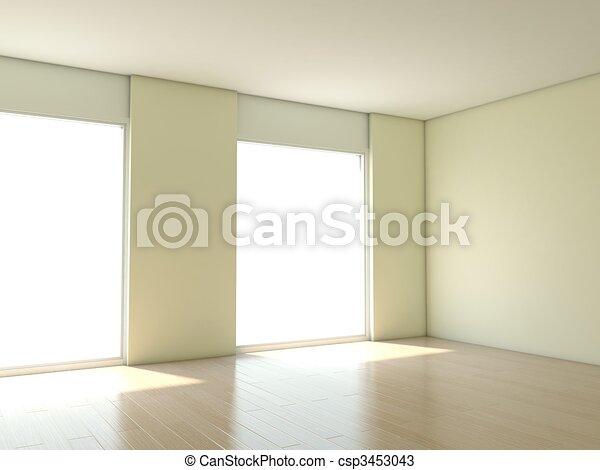 Un apartamento vacío con paredes blancas - csp3453043