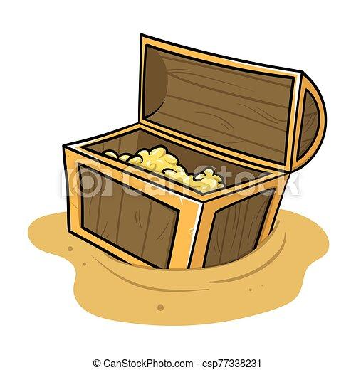 blanco, arqueología, ilustración, aislado, viejo, history., plano, pecho, tesoro, posición, vector, lleno, fondo., sand. - csp77338231