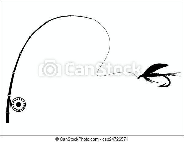 Una caña de pescar en el fondo blanco. - csp24726571