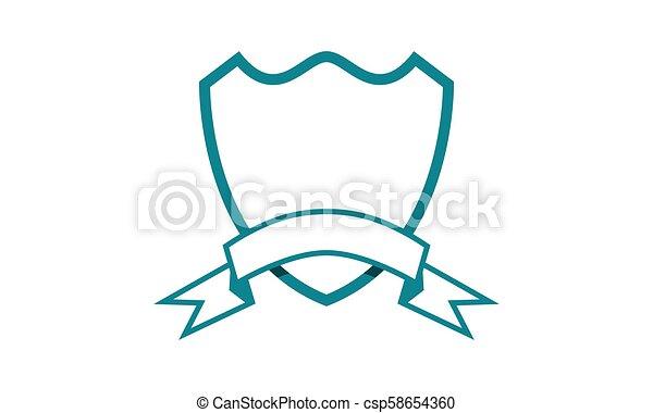 La plantilla de cinta de escudo en blanco aislada - csp58654360