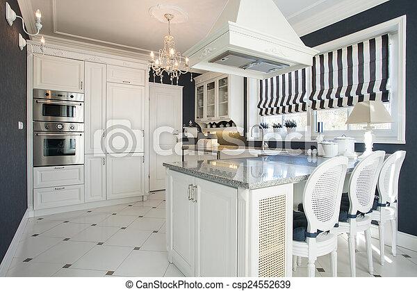 Blanco, cocina, belleza, muebles. Belleza, moderno, interior, blanco ...