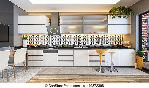 Idea de decoración de cocina blanca. Diseño de cocina ...