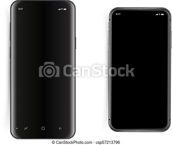 Los smartphones modernos están aislados en el blanco - csp57213796