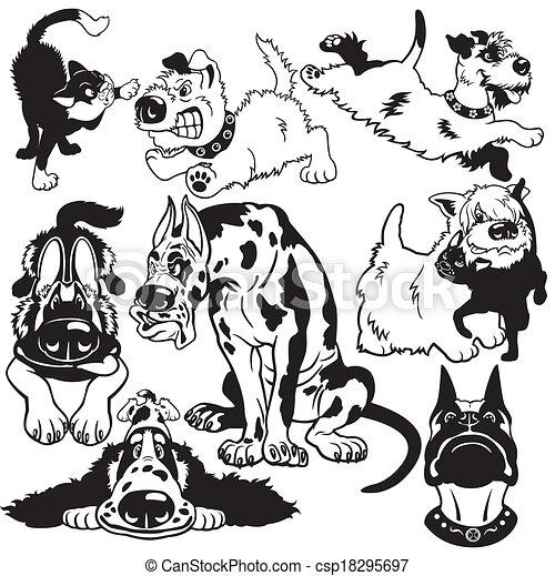 Blanco Conjunto Negro Perros Caricatura Razas Conjunto