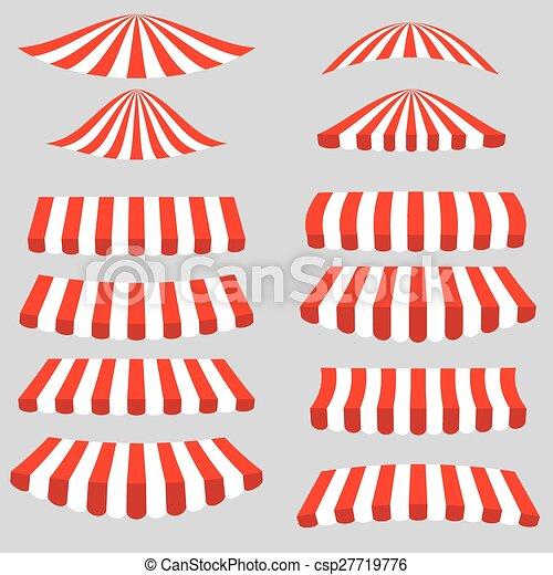 Un conjunto de tiendas blancas rojas - csp27719776