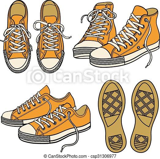 Con zapatillas aisladas en el blanco - csp31306977