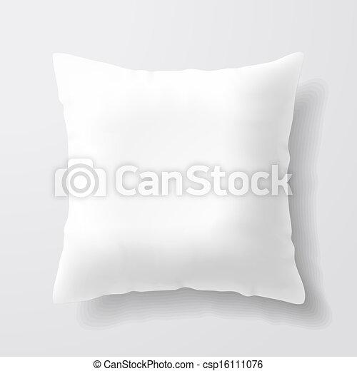 Almohada blanca y cuadrada - csp16111076