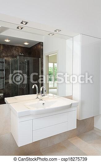 Blanco, cuarto de baño, muebles. Cuarto de baño, muebles ...