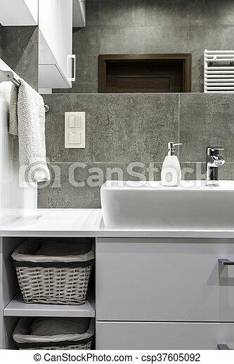 blanco, cuarto de baño, muebles