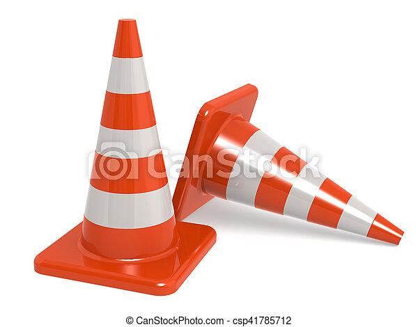 Conos de tráfico aislados en blanco - csp41785712