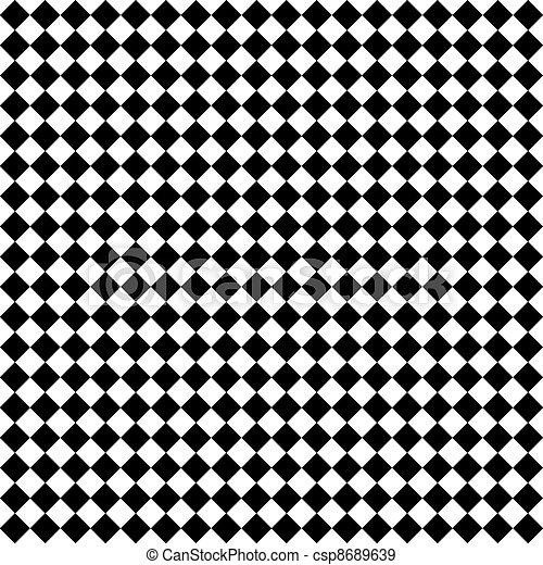 blanco, diamante, negro, cheques, y - csp8689639