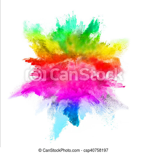blanco, explosión, fondo coloreado, polvo - csp40758197