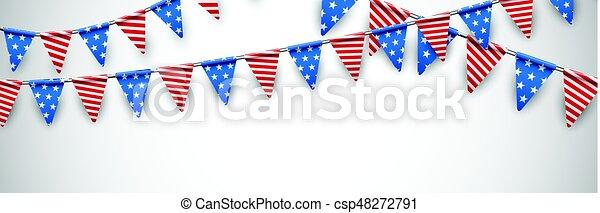 Bandera blanca con banderas americanas. - csp48272791