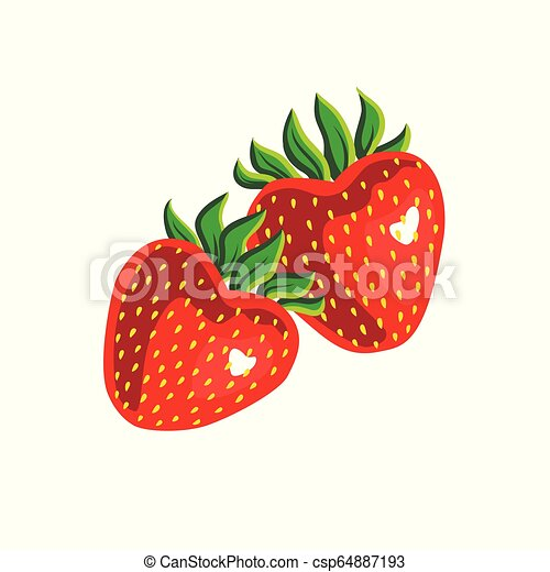 Dos fresas aisladas en fondo blanco - csp64887193