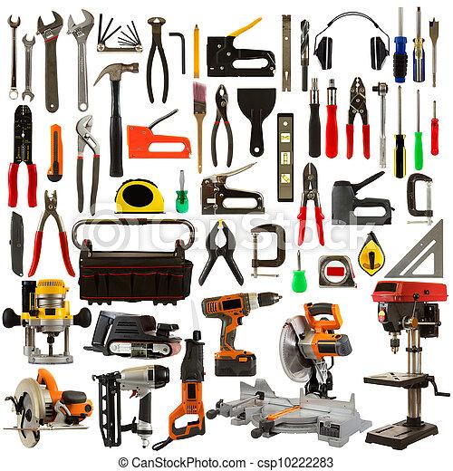 blanco, herramientas, aislado, plano de fondo - csp10222283