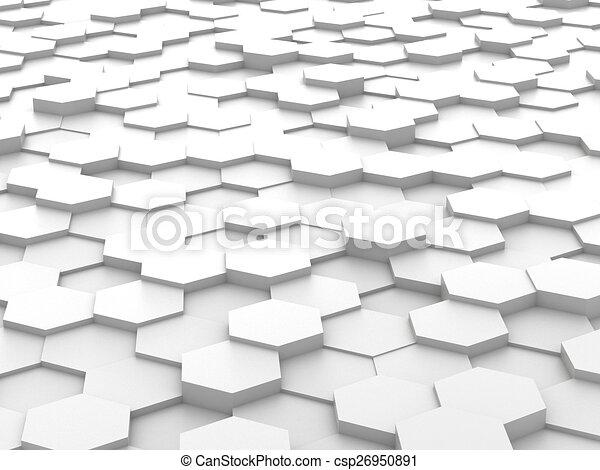 Antecedentes de bloques de hexagon blanco 3D - csp26950891