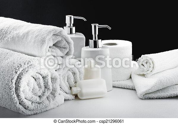 Blanco, higiene, accesorios cuarto baño. Papel, servicio ...