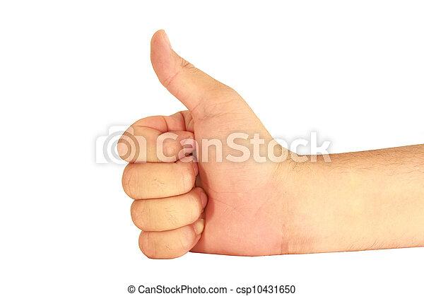 El hombre de la mano en un fondo blanco - csp10431650