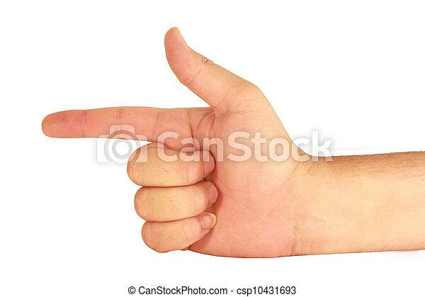 El hombre de la mano en un fondo blanco - csp10431693