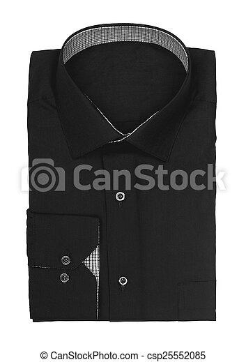 Camisa negra de hombre en un fondo blanco - csp25552085