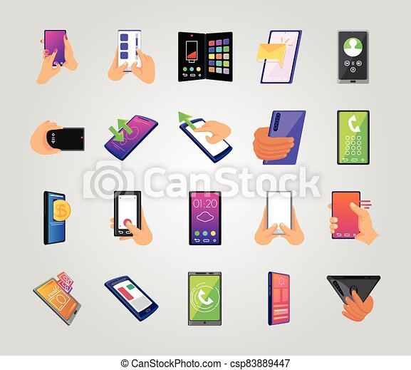 blanco, iconos, plano de fondo, pantallas, smartphone, conjunto - csp83889447