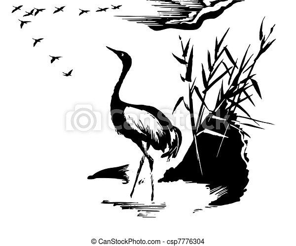 Ilustración de la grúa en blanco - csp7776304