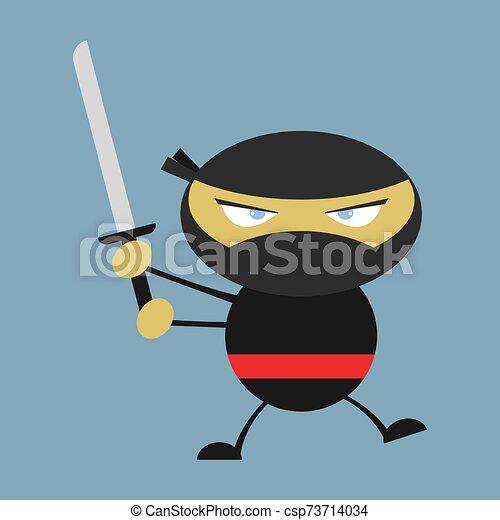 blanco, ilustración, ninja, vector, fondo. - csp73714034