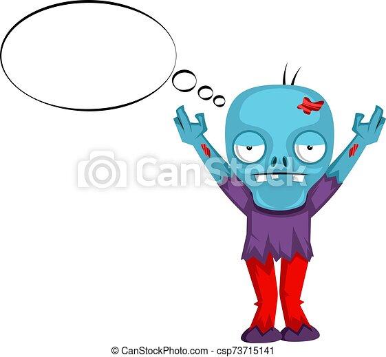 blanco, ilustración, pensamiento, zombi, vector, fondo. - csp73715141