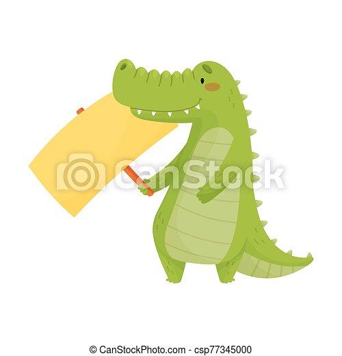 blanco, ilustración, tenencia, vector, cocodrilo, dentudo, lindo, bandera, señal - csp77345000