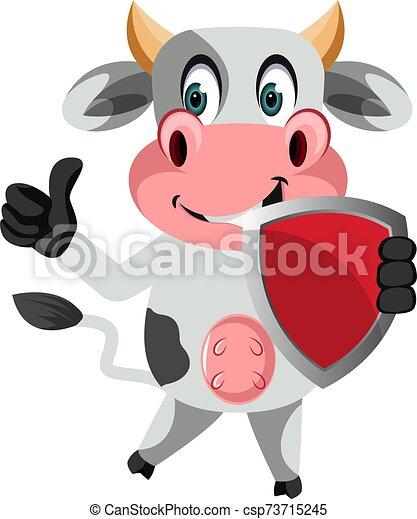 blanco, ilustración, vaca, protector, vector, fondo. - csp73715245