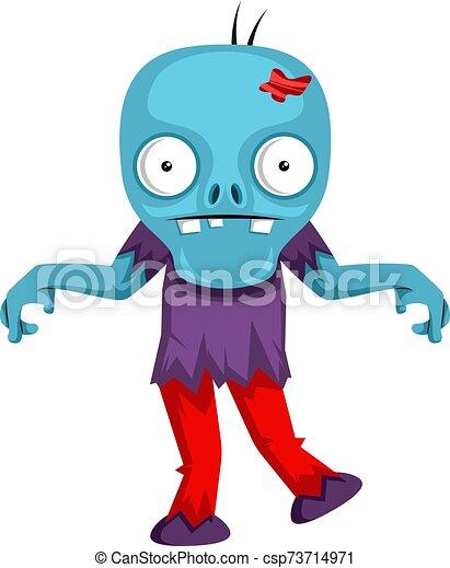 blanco, ilustración, zombi, vector, bailando, fondo. - csp73714971