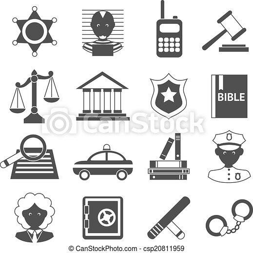 Los iconos de la ley son blancos y negros - csp20811959