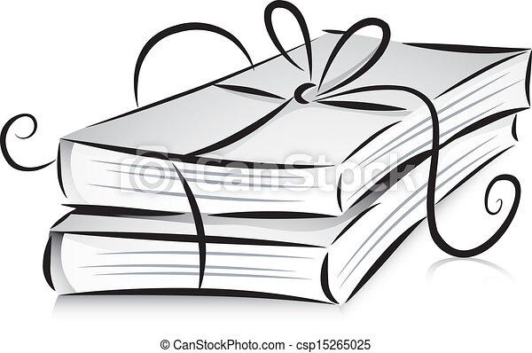 blanco, libros, negro, cinta - csp15265025
