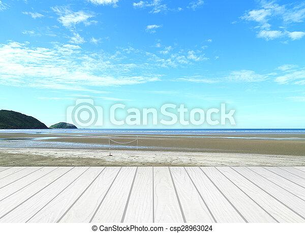 Terraza Blanca Con Playa Y Mar