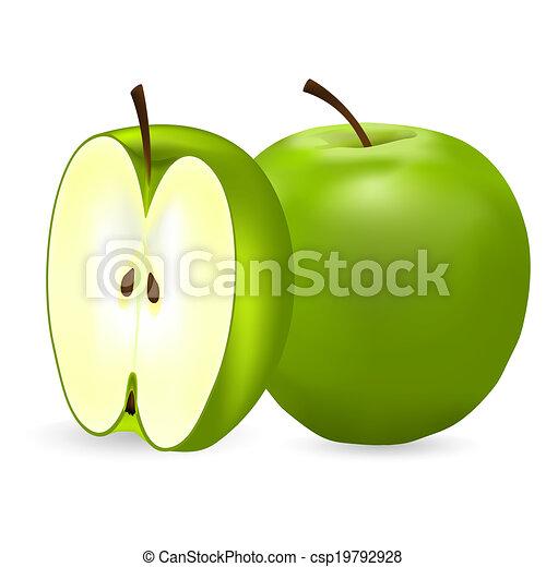 Manzanas verdes en un fondo blanco - csp19792928