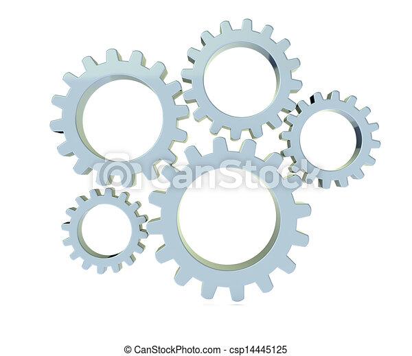 blanco, metal, engranajes, plano de fondo, 3d - csp14445125
