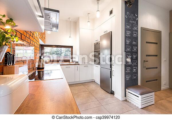 blanco, moderno, cocina, muebles