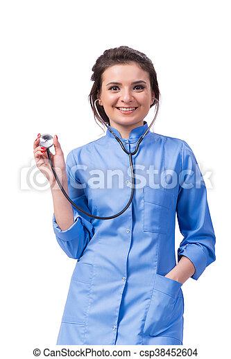 Una doctora aislada en el blanco - csp38452604