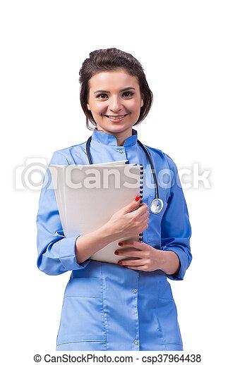 Una doctora aislada en el blanco - csp37964438