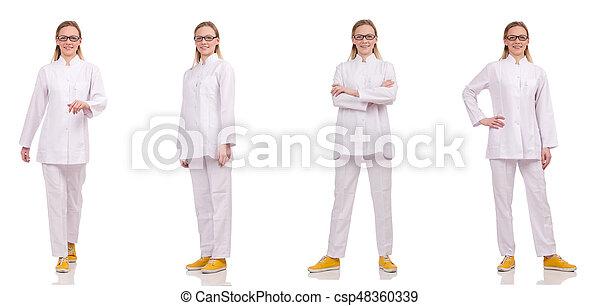 Una doctora aislada en el blanco - csp48360339
