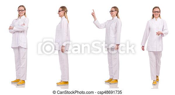 Una doctora aislada en el blanco - csp48691735