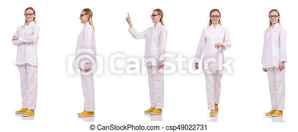 Una doctora aislada en el blanco - csp49022731